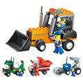 4 Estilo Rodillo Tractor Vehículo de la Ingeniería Camión Mezclador de Bloque Bloques de Construcción de Juguetes Educativos Para niños Juguete de Regalo de Navidad