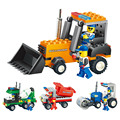 4 Style Block Mixer Bulldozer Roller Truck Engineering Vehicle Building Blocks Toys Children's Educational Toy Xmas Gift