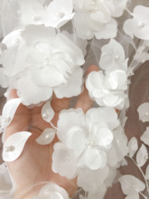 1 Yard 3D Pearl Beaded Full Blossom Flower Tulle Lace Fabric in Off White , Wedding Gown Bridal Dress Prom by