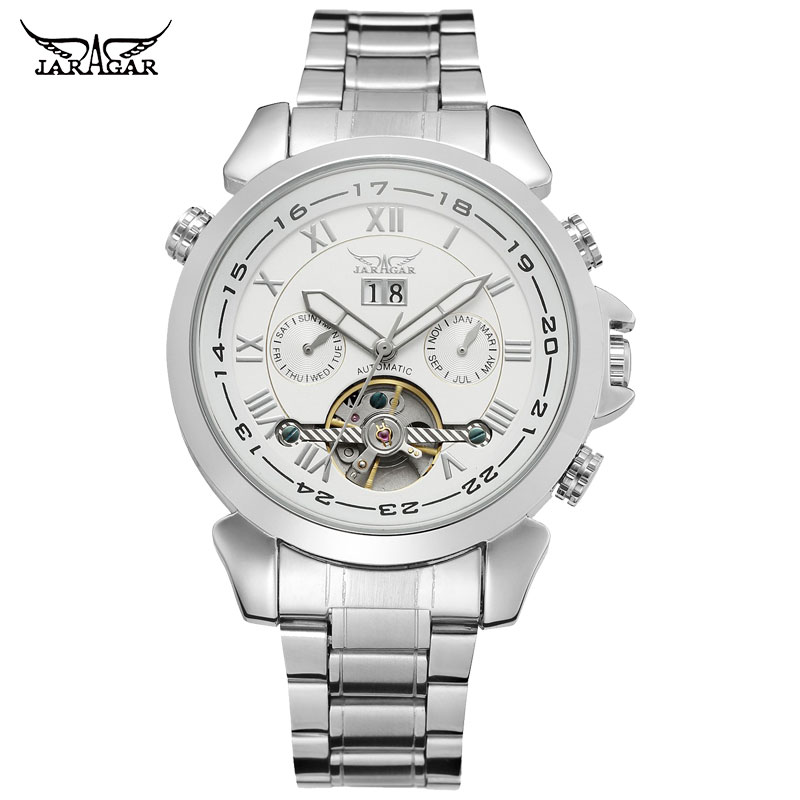 JARAGAR Men Mechanical Watches Brand Luxury Men's Automatic Stainless Steel Band Watches Hot Selling Auto Date Wristwatches женские часы 33 element 331709