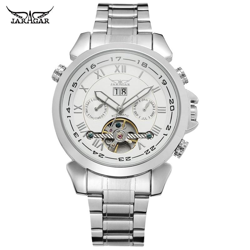 JARAGAR Men Mechanical Watches Brand Luxury Men's Automatic Stainless Steel Band Watches Hot Selling Auto Date Wristwatches детская футболка классическая унисекс printio i whale always love you
