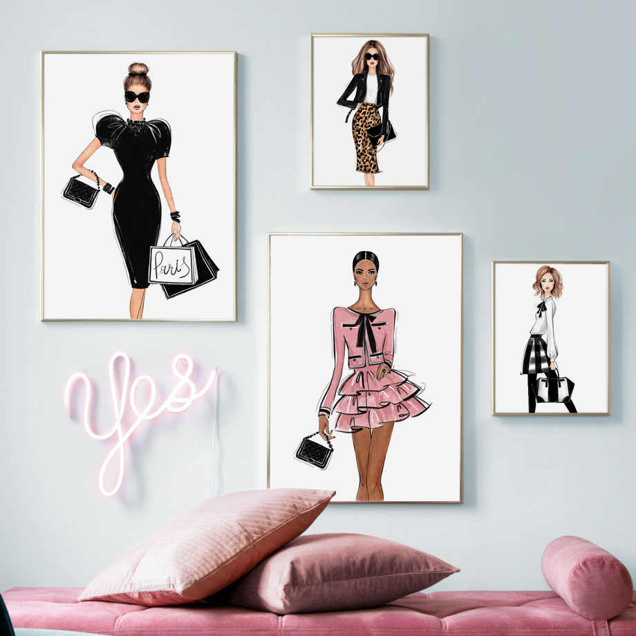 Paris Sexy Girl Fashion Dress Wall Art Canvas Painting Nordic Posters And Prints Salon Decoration Wall Pictures For Living Room Aliexpress