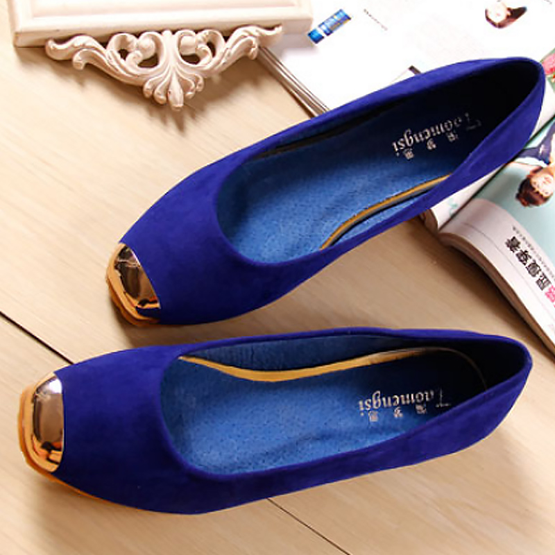 Women Shoes Summer Big Size 34-43 2019 Fashion Blue Flats Slip-on Loafers Square Toe Metal Decoration Leather Ballet Flats