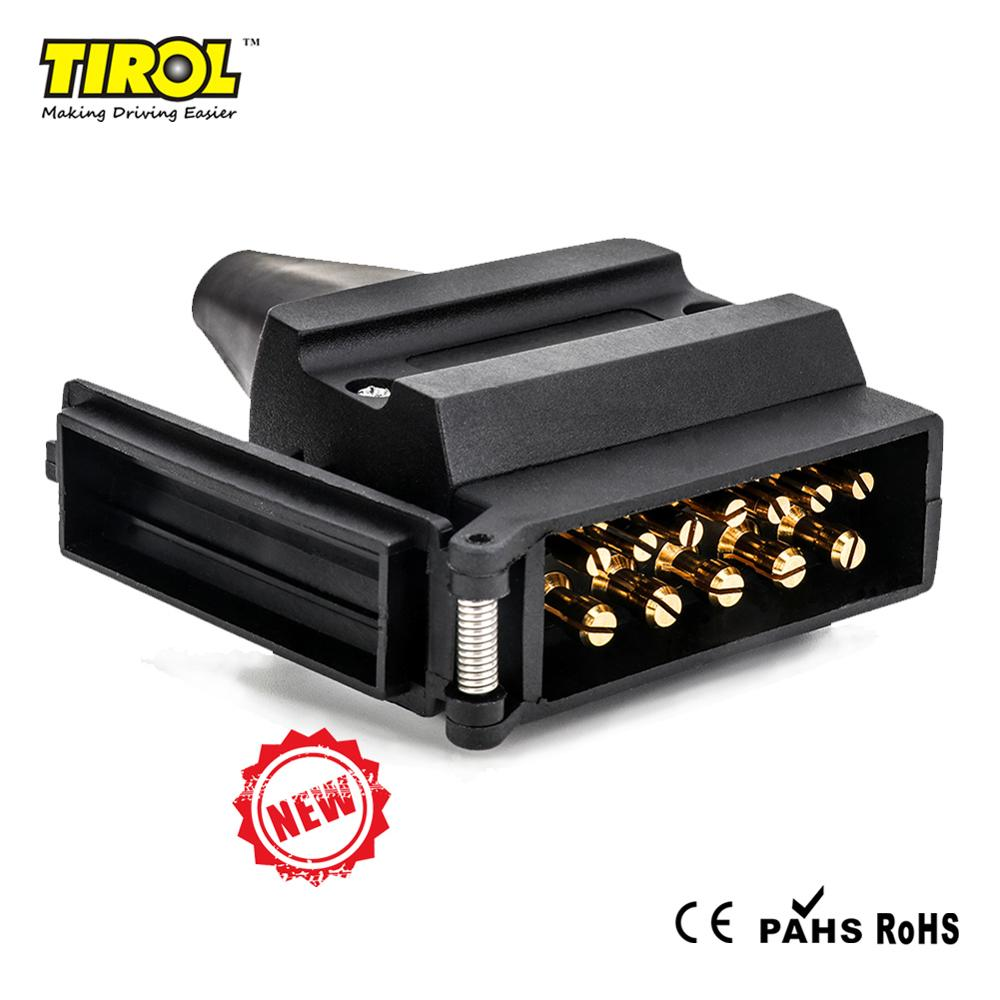 Tirol 12 Pin Trailer Flat Male Plug T25488P3 Australian 12V Adapter With PVC Sheath Signal Light Display Connector Free Shipping