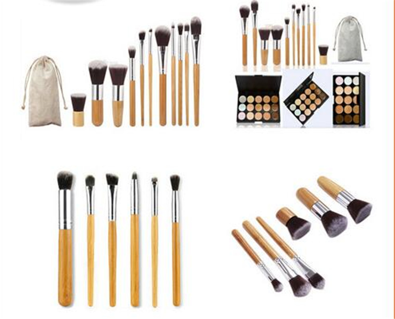 2018 NEW Make up Natural Bamboo Professional Makeup Brushes Set Foundation Blending Brush Tool Cosmetic Kits Makeup Set Brusher 10pcs tooth brush shape oval makeup brush set multipurpose makeup brushes professional foundation powder brush kits make up tool