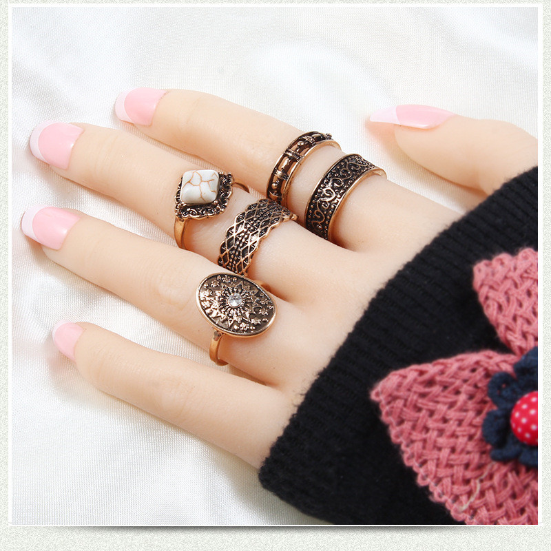 5Pcs/Set Bohemian Vintage Rings Set for Women Ethnic Antique Silver/Gold Round Rings Women Fashion Jewelry