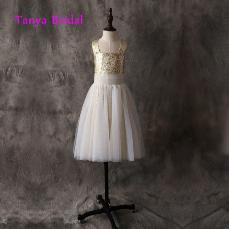 Floor Length Straps   Flower     Girl     Dress   Sleeveless A Line Gold Sequin Ivory Tulle Pleat