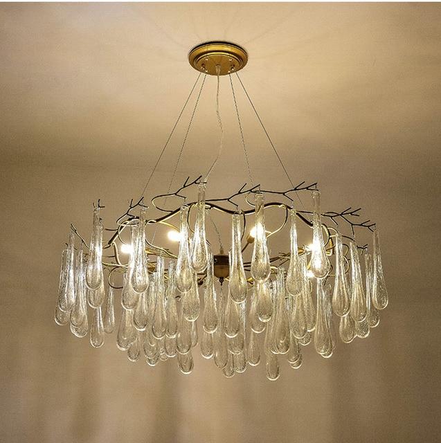 Phube Lighting Large Artistic Chandeliers Beautiful Water Drops Chandelier Hotel Glass