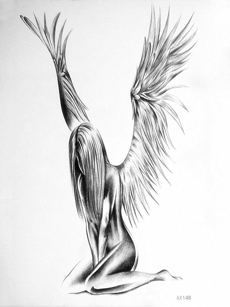 Populer Sexy Naked Angel Sketsa Sketsa Pensil Gambar Tato Tahan Air