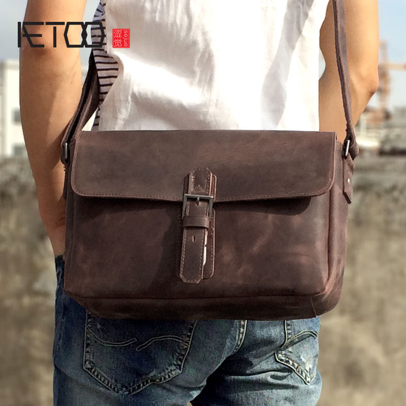 AETOO New first layer of leather men's shoulder bag leather male package cross-section oblique cross-bag Japanese and Korean ver aetoo new first layer of leather men s shoulder bag leather male package cross section oblique cross bag japanese and korean ver