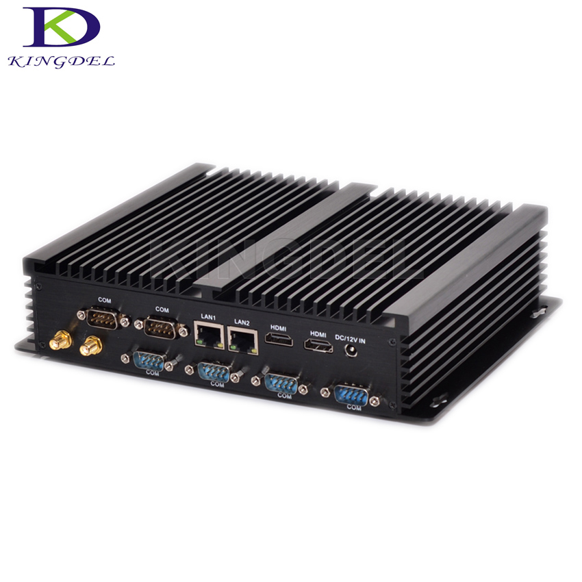 Kingdel Fanless Industrial Mini PC Core i7 5550U 2*Intel Gigabit Lans 6*RS232 8*USB Micro Computer 300M Wifi 2*HDMI Linux Win 10