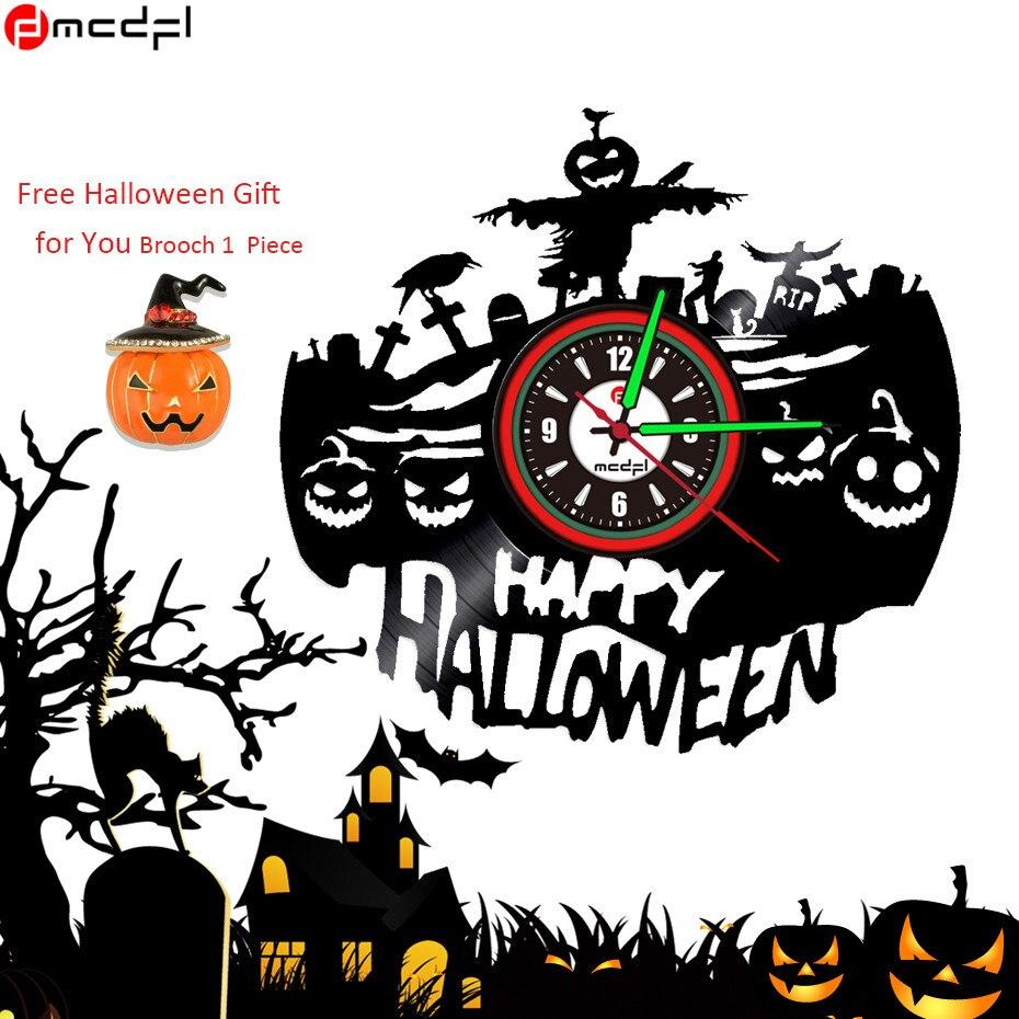 Хэллоуин карнавальные аксессуары Bat тыквы стены Стикеры светодиодный Хэллоуин Винил настенные часы световой клок Бесплатная брошь подарок