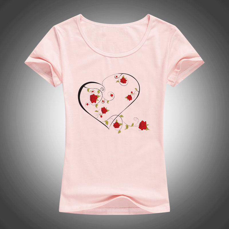 summer fashion cotton t shirt women LOVE Rose wreath printed O-Neck short sleeve tops tees camiseta 1890