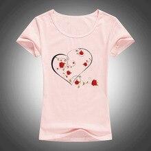 summer fashion cotton t shirt women LOVE Rose wreath printed O-Neck short sleeve tops tees camiseta 1890