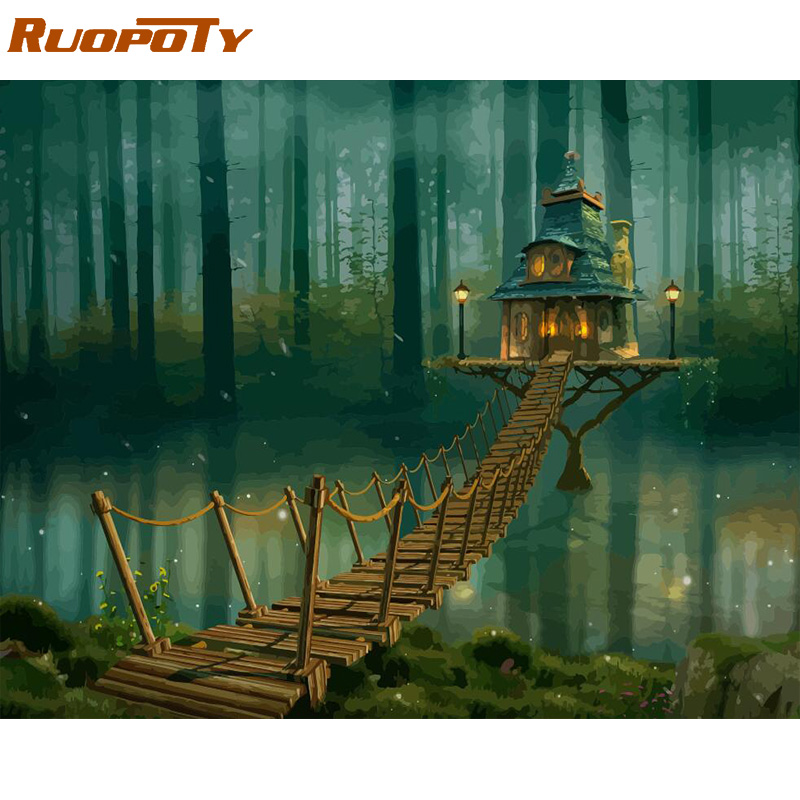 RUOPOTY Frame Picture DIY Painting By Numbers Kit Landscape House Acrylic Paint By Numbers For Adults Handpainted Painting Art