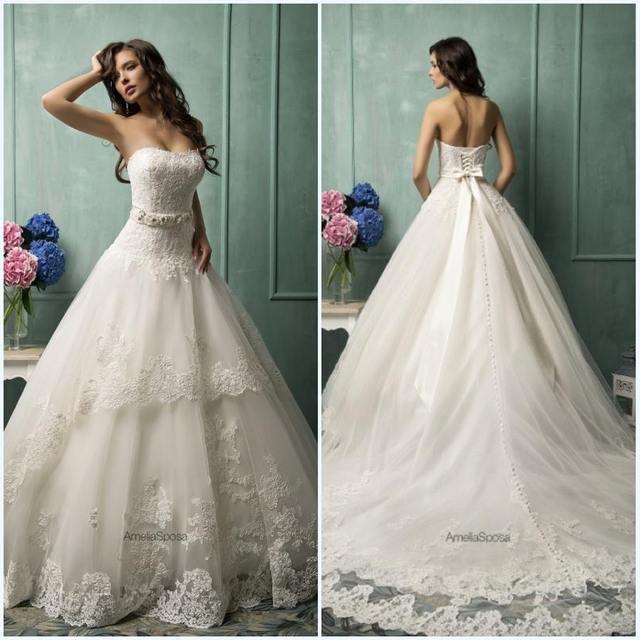 New Princess Wedding Dresses vestido de noiva Applique Lace ...