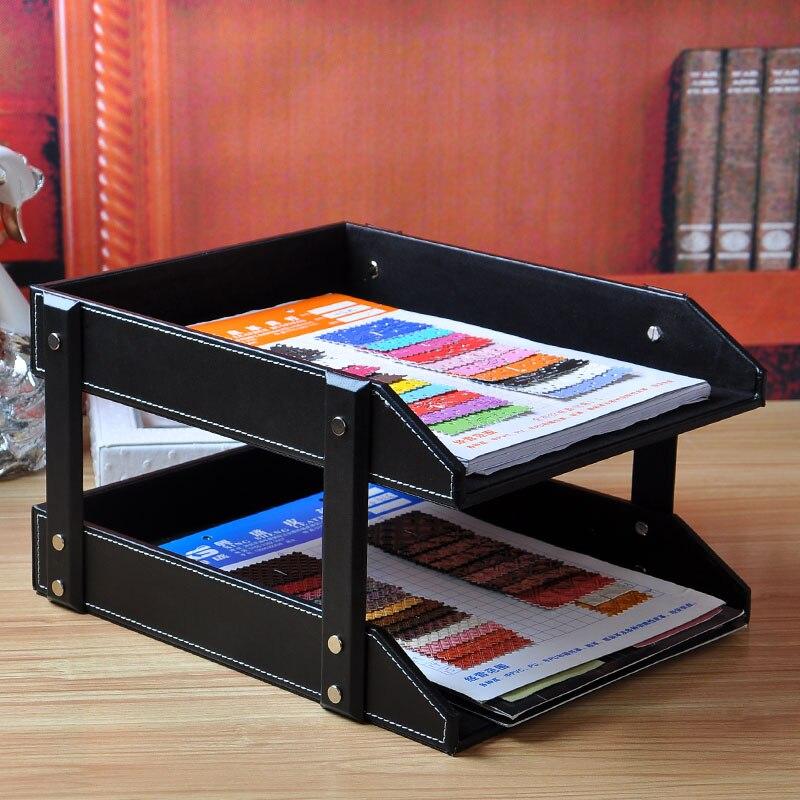 2 couches A4 bureau amovible en bois en cuir document porte-revues plateau classeur fichier support organisateur boîte de rangement en papier 212AR