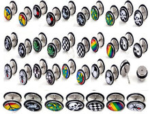 Wholesale 40Pcs/lot Acrylic Ear Plug Barbell Ear Expender Plug Ear Stud Body Piercing Ear Tunnel Plugs Jewelry Piercing Ear 2pcs set acrylic piercing jewelry women ear stud awl ear expansion device auricle random color