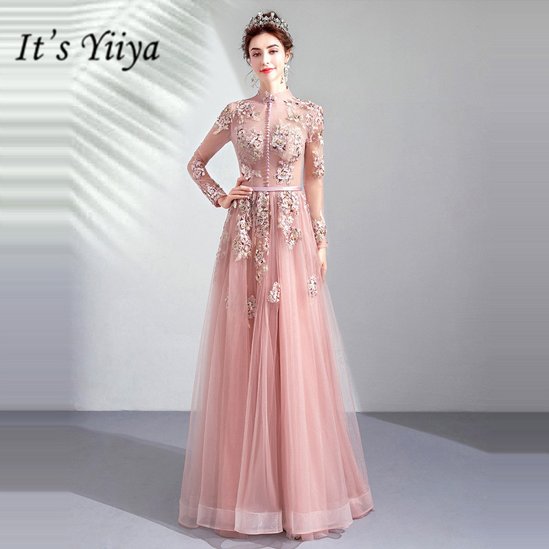 It's YiiYa   Prom   Gowns Pink High Collar Full Sleeves A-Line Floor Length Long Party   Dress   Custom Plus Size   Prom     Dresses   2019 E276