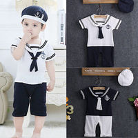 NEW Baby Boy Girl Sailor Collar Costume Suit Grow Outfit Romper Pants Clothes And Hat 0