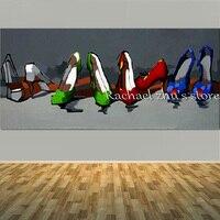 大手塗り漫画静物油絵キャンバス質感ハイヒール靴壁写真リビングルームのホームインテリア