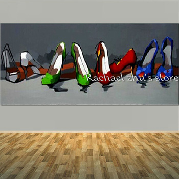 Large Handpainted Cartoon Still Life Oil Painting On Canvas Textured High Heeled Shoes Wall Pictures For Living Room Home Decor
