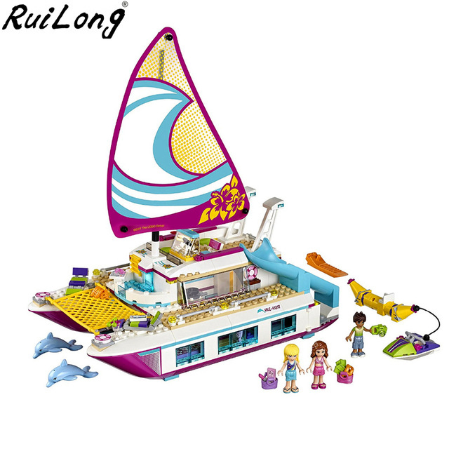 Friends Girl Series Sunshine Catamaran Compatible Legoinglys 41317 Building Blocks Toys Kids Bricks Toy Christmas Girl Gifts