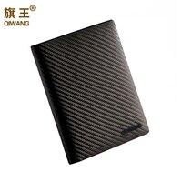 Carbon Pattern Genuine Leather Mens Passport Holder Wallets Man Travel Wallet Slim Passport Cover Sleeve Credit&ID Car Wallet