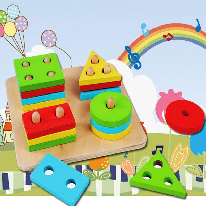Educational Wooden Geometric Sorting Board font b Blocks b font Montessori Kids Baby Educational font b