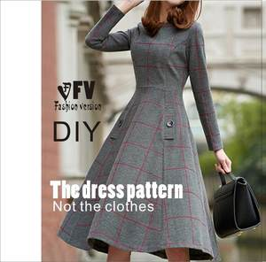 Dresses Sewing Pattern Template Cutting Drawing Diy