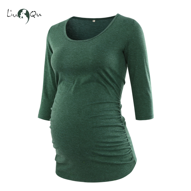 Pregnancy Blouse Maternity Clothes Side Ruched 3 Quarter Sleeve Top Pink  Green Mama Top O neck Pregnancy Clothes for Women Tops 021ba63be47c