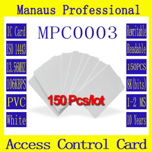 High Frequency 150PCS RFID Tag 13.56 MHZ Contactless IC Cards Hot Selling White PVC Access Control Attendance Card Wholesale C3b