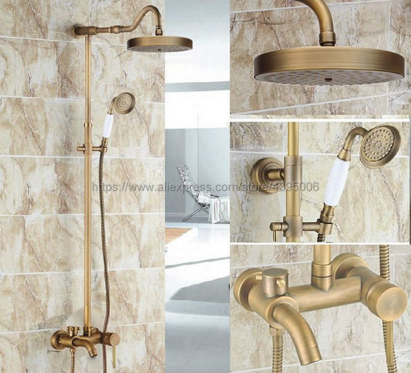 цена на Antique Brass Rain Shower Faucet Set Tub Spout Mixer Tap W/ Hand Shower Wall Mounted Shower Faucet Brs228