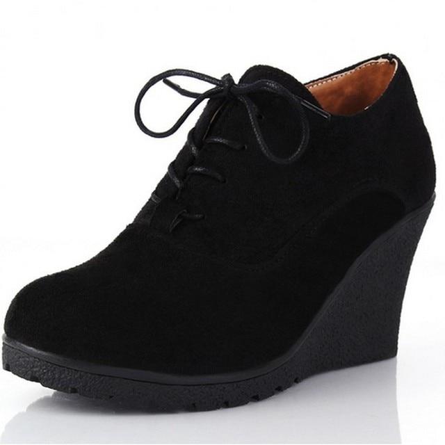 Сексуальные Женщины Насосы Клинья Обувь Мода Замши Платформы Высокие Каблуки Женщины Ботильоны Весна Осень Повседневная Обувь