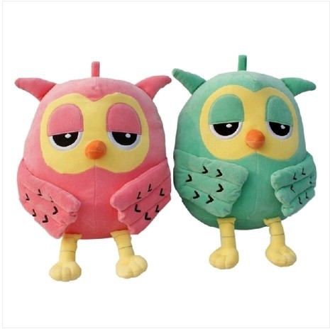 18CM Popular Night Owl Plush Toy Baby Cute Pink/ Green Owl Toys Stuffed Animal Doll Soft Baby Birthday Gifts Toy for Kids Girls