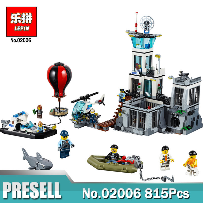 Lepin building toy 02006 815pcs Building Blocks Compatible with legoing 60130 City Series The Prison Island toys & hobbies gift цена
