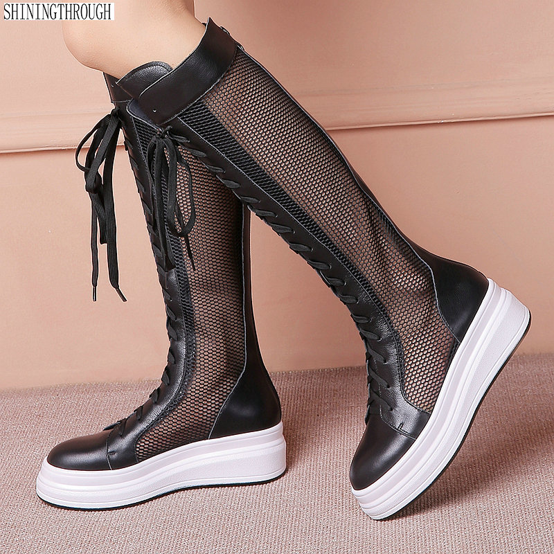 Women Summer Boots Genuine Leather 5cm high Heel platform Mesh Surface Breathable Fasion knee high Boots