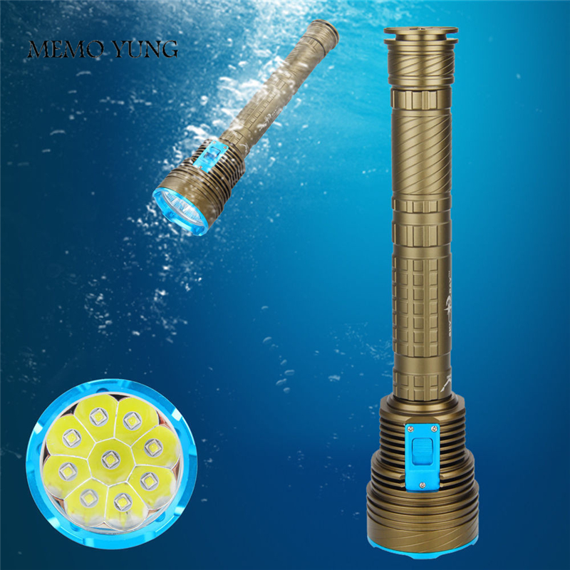 Lumen Diving LED Senter kuat tinggi Underwater 100M Waterproof Torch 9 x CREE XM-T6 LED Torch Dengan 3x18650 atau 26650 Baterai