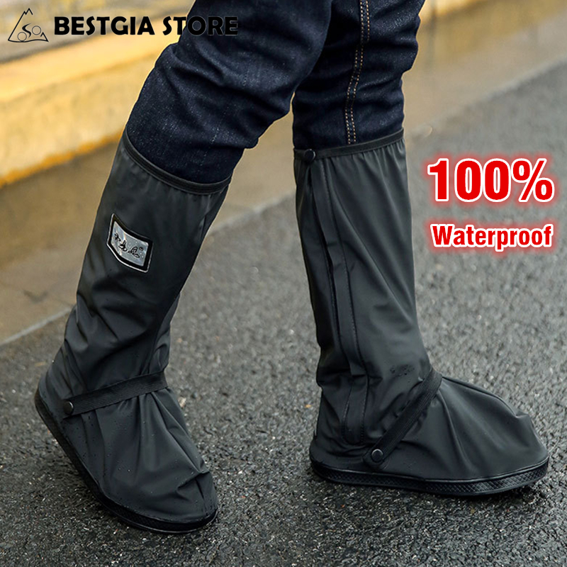 100% Waterproof Cycling Shoes Cover Men Women Outdoor Sport Non-slip Rain Shoe Cover For Motorcycle/Fishing/Climbing Overshoes tigergrip rubber non slip chef shoe cover flat men and women safety shoes covering lab nursing shoes waterproof overshoes