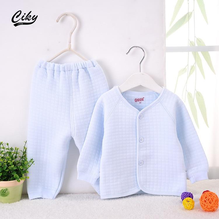 (2pcs/set)Newborn Baby Set 0-9M Brand Boy Girl warm baby Clothes set Cotton Solid winter Underwear coat pants blue pink yellow