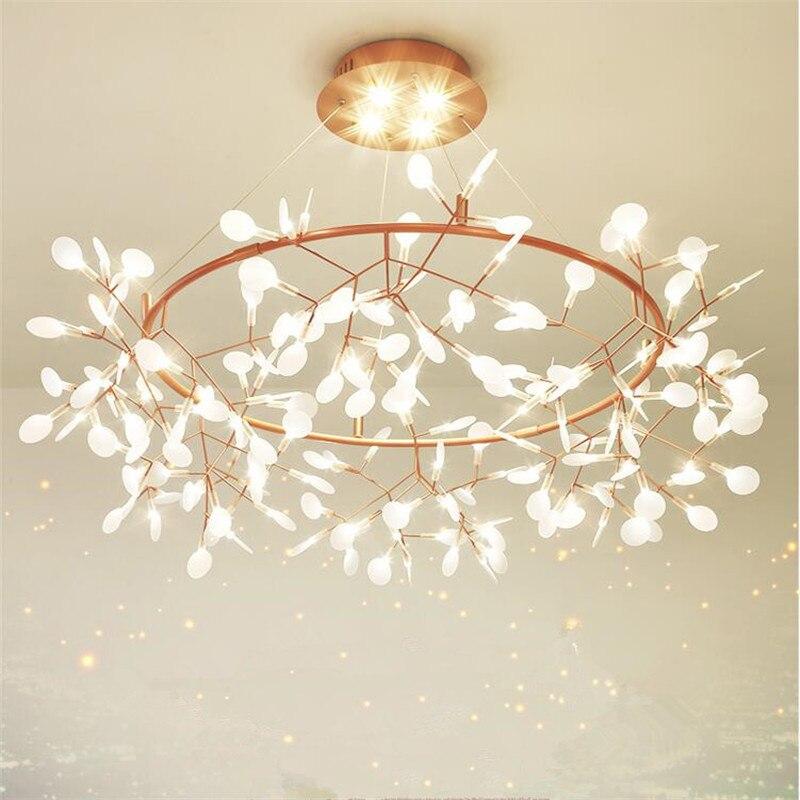 Nouveau Design À Distance Led Lustre Lumière Arbre Feuille Luciole Lustre Pendentif Plafond Lampe Pour Salon Gradation Lustre Luminaire