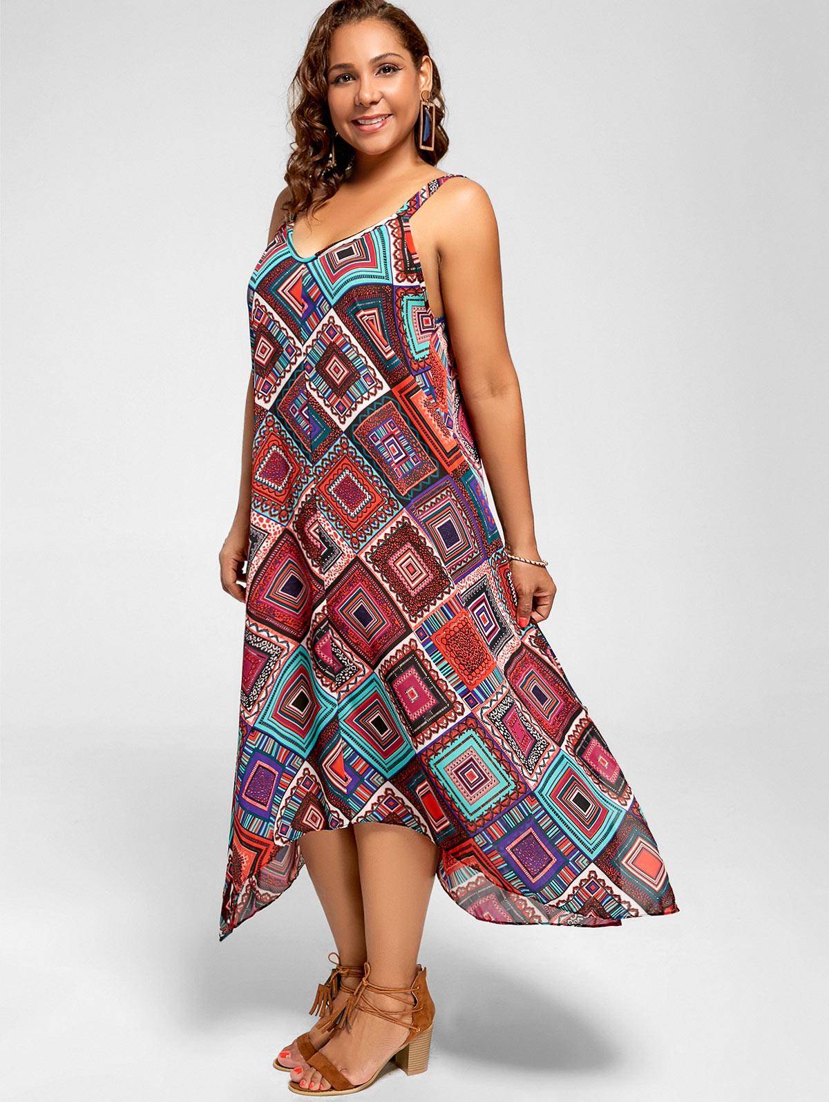 US $15.5 22% OFF|Wipalo Women Plus Size Striped Handkerchief Dress Female  Summer Spaghetti Strap Sleeveless Asymmetrical Dresses Vestidos-in Dresses  ...