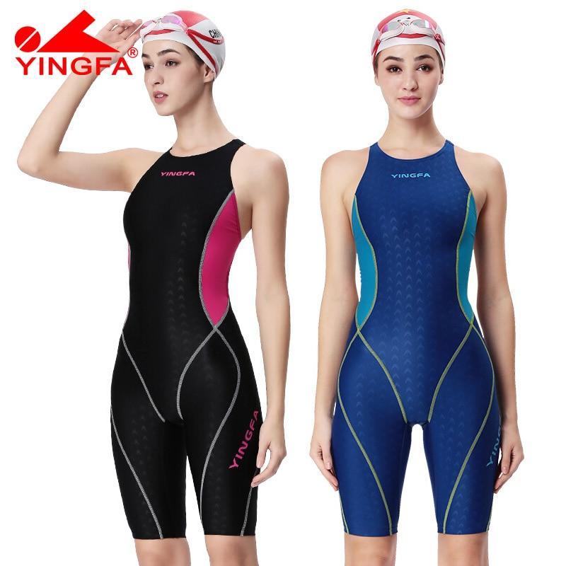 Yingfa professional competition swimsuit women girls one piece swimwear kids training swimwear racing sharkskin knee swimsuit