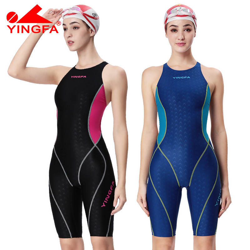 Yingfa professional competition swimsuit girls girls one piece swimwear kids training swimwear racing sharkskin knee swimsuit