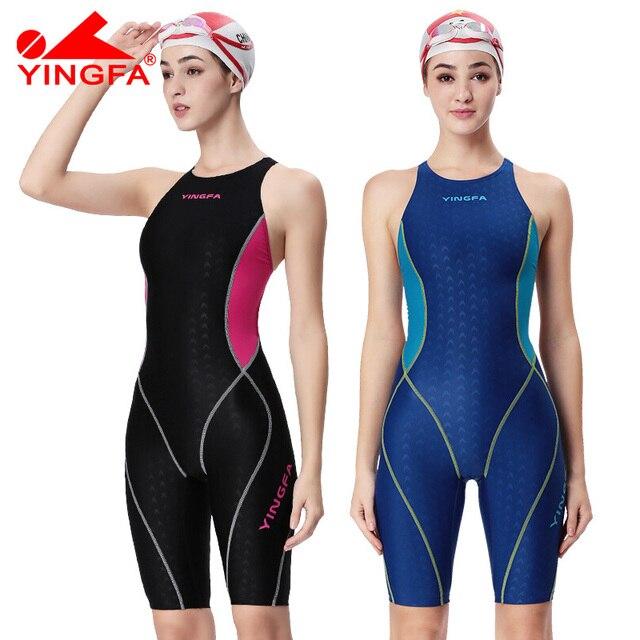 3e0859e628c9e Yingfa professional competition swimsuit women girls one piece swimwear  kids training swimwear racing sharkskin knee swimsuit