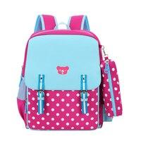 Red Dot Girls School Backpack Children Travel Bag Blue PU Leather First Grade Bookbag Kids Back