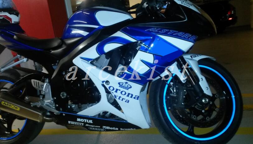 3Gifts New ABS <font><b>Fairings</b></font> Kit Fit For SUZUKI GSXR600 GSXR750 06 07 R600 R750 K6 <font><b>GSXR</b></font> <font><b>600</b></font> 750 <font><b>2006</b></font> 2007 color White blue corona image