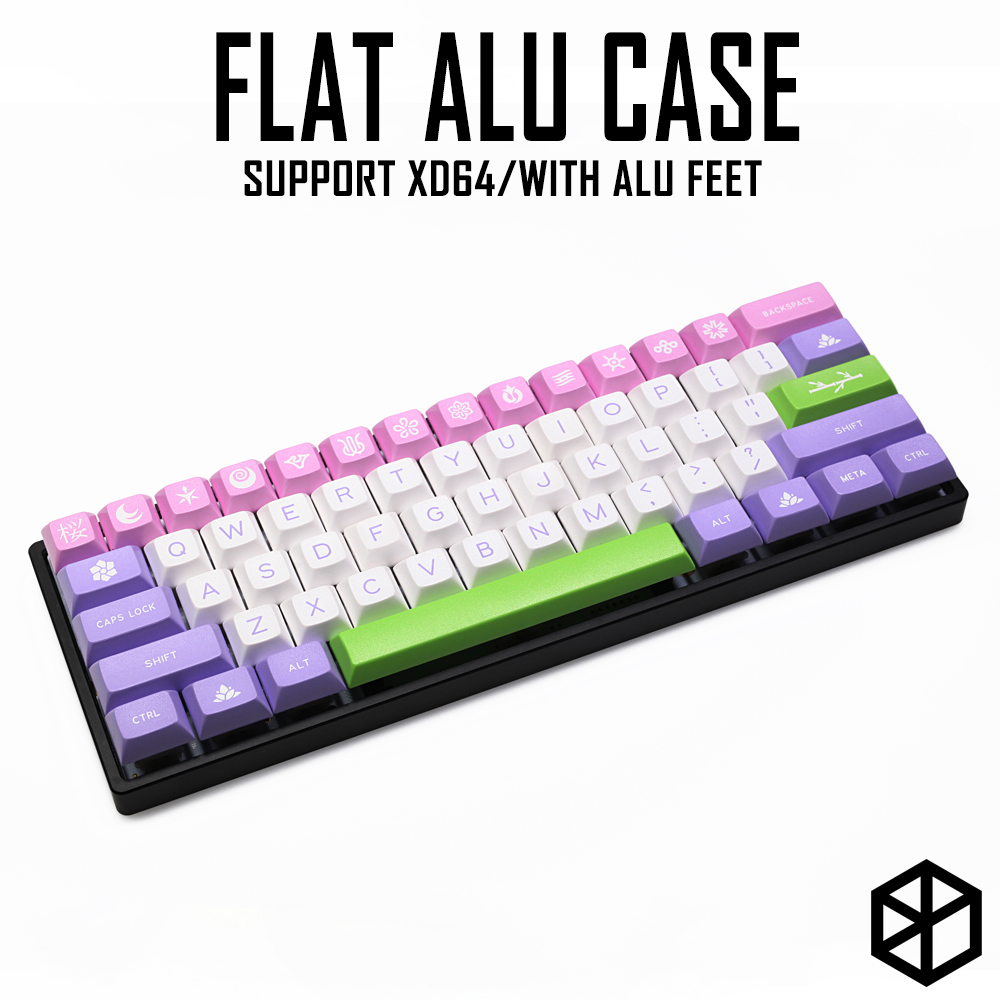 Anodized Aluminium flat case with metal feet for custom mechanical keyboard black siver grey colorway for