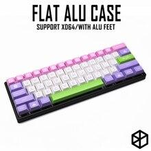Плоский чехол из анодированного алюминия с металлическими ножками для пользовательской механической клавиатуры, черный, серый цвет для Сатаны gh60 xd60 xd64