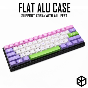 Anodized Aluminium flat case with metal feet for custom mechanical keyboard black siver grey colorway for gh60 xd60 xd64 satan(China)
